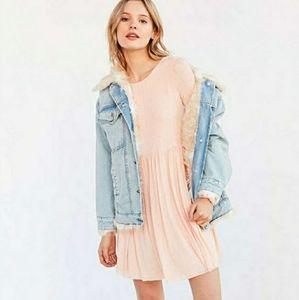 🍓UO Kimchi Blue Vidal Cozy Babydoll Dress Pink XS